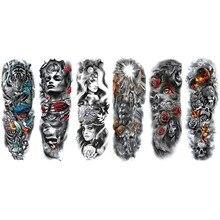 Boy's & Girl's Full Arm Temporary Tattoo Waterproof Tattoos Stickers Body Art Paints letter clock flower Full Arm Art Paints