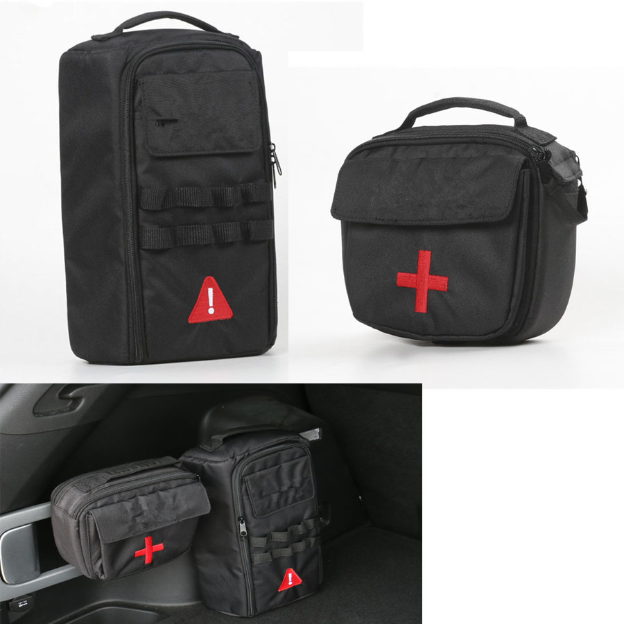 YAQUICKA For Jeep Cherokee 2014-2016 Car Interior First-Aid Medical Kit Bag + Tool Kit Bags Case Car-covers 2Pcs Black mono efx producer bag black versatile tool kit for digital creators