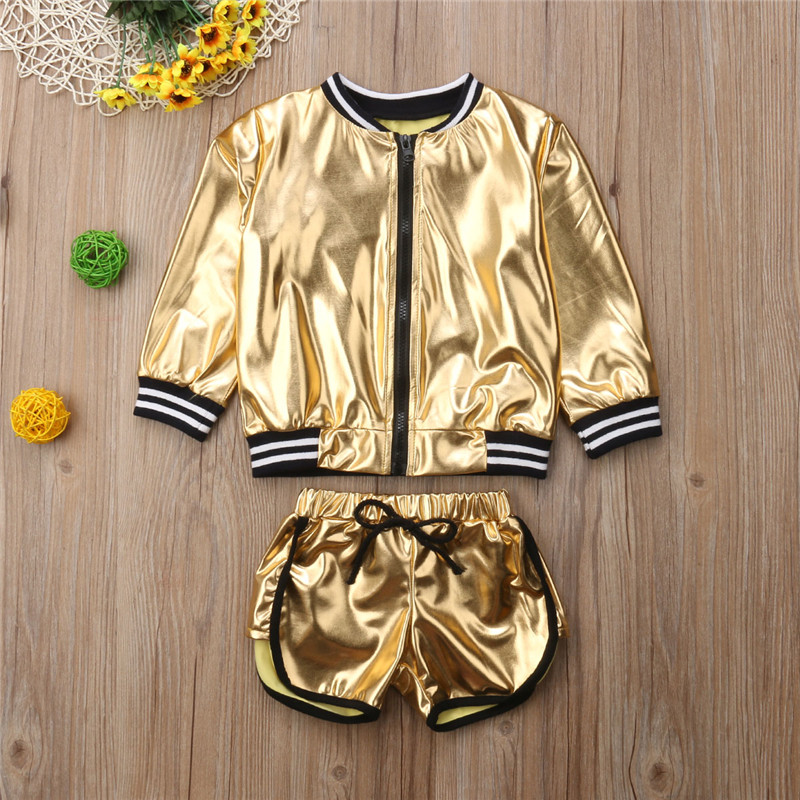 Fashion Toddler Baby Girl Shining Zip Top Coat Jacket+Shorts 2Pcs Outfits Set