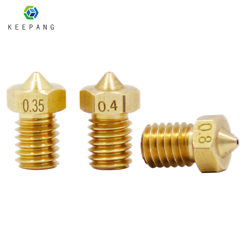 10 Pcs E3D V5 V6 Nozzle M6 Threaded 3D Printer Accessories Full Metal Boquill 0.3mm/0.4mm/0.5mm/0.6/0.8/1.0 For 1.75mm Filamnet