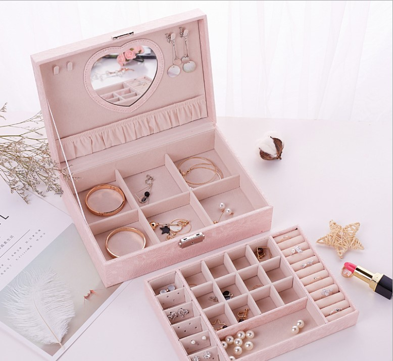 87princess portable storage box for jewelry necklace ring earrings birthday holiday girls gift wedding gifts travel jewelry box
