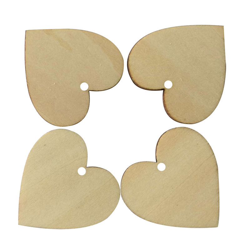 25pcs LOVE Hearts Shape Wooden Crafts with Holes Laser Cut Wood ...