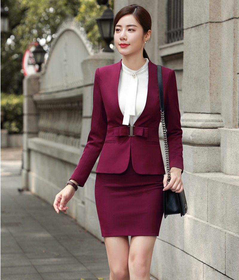 Fashion Wine 2018 Autumn And Winter Formal Blazers Suits With Jackets And Skirt For Women Business Office Work Wear Uniforms Set