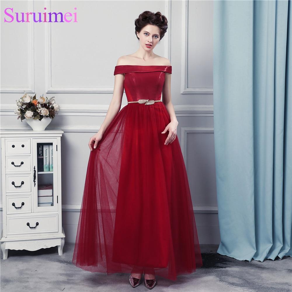 Vin rouge longues robes de bal avec des ceintures décoration de l'épaule bustier Corset robe de bal