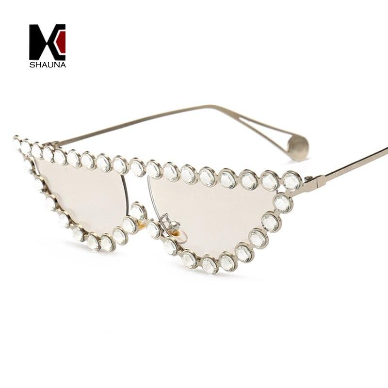 SHAUNA Luxury Crystal Rhinestone Cat Eye <font><b>Sunglasses</b></font> Women Fashion Half Frame Clear <font><b>Pink</b></font> Blue Yellow Shades