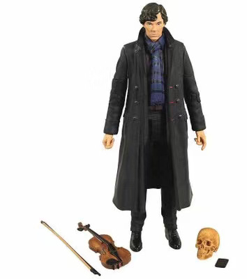 NECA Movie Film Detective Sherlock Holmes 22 1 B Benedict Cumberbatch With Phone Violin Skull Action Figure Toys