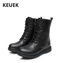 NEW 2019 Autumn Children Leather boots Genuine leather Mid-Calf Motorcycle boots Boys Girls shoes Winter Kids Snow boots 04
