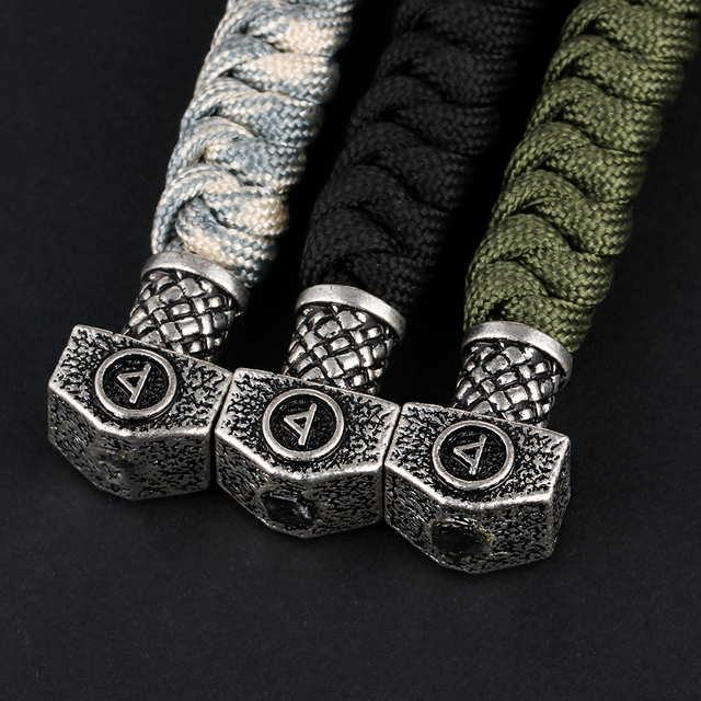 1pc  Exquisite Thor Viking Runes Hammer Beads Fore paracord lanyard Key chain Key Ring Key ring with Lobster Clasp Accessories