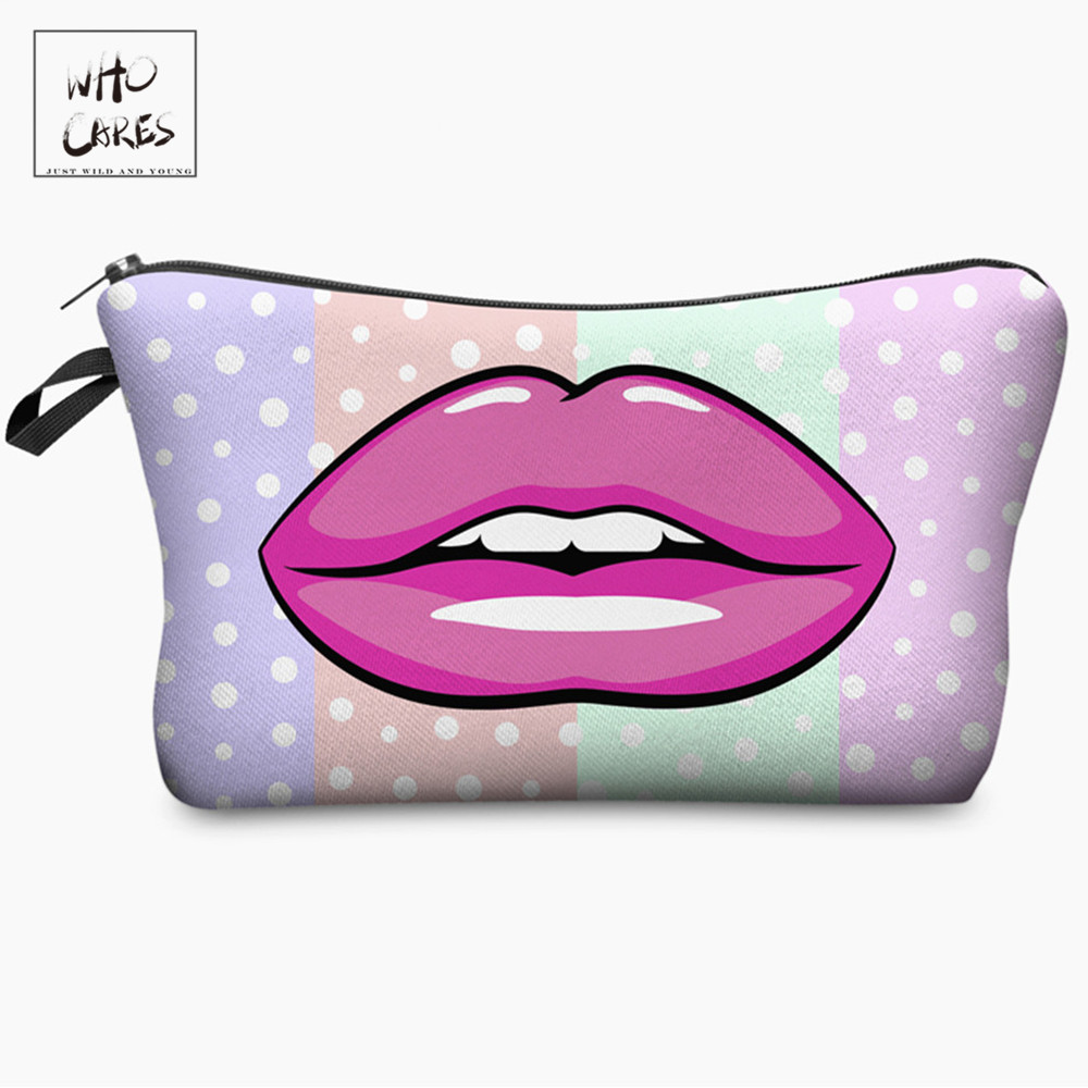 Who Cares Fashion Pink Lips Dot Printing With Multicolor Pattern Makeup Bags Travel Ladies Pouch Women Cosmetic Bag