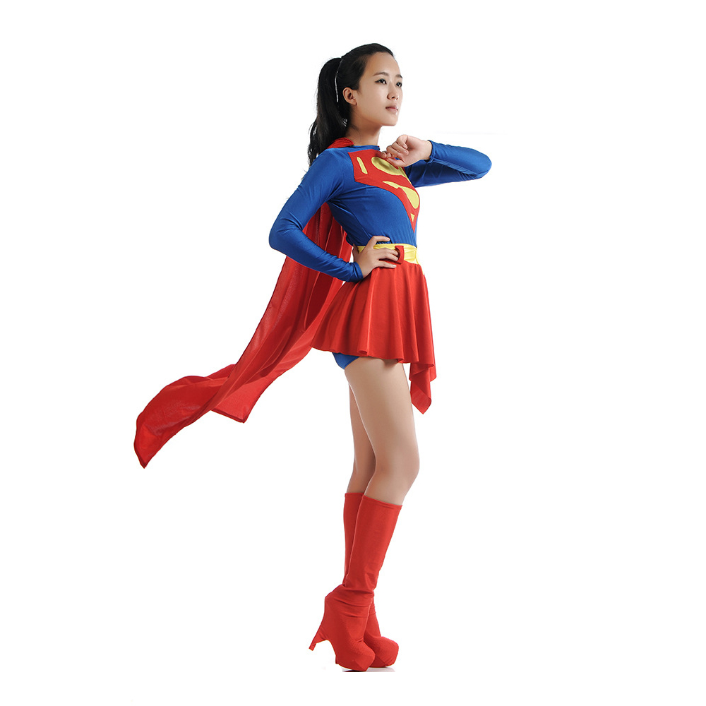 2018 New Adult Supergirl Cosplay Fancy Dress Costume Woman Superhero Cosplay Female Superman Costumes Girls Cosplay Party Suit