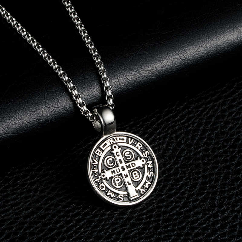 12f5bf618ec ... ZFVB Classic Saint Benedict Cross Pendant Necklace Mens 316L Stainless  steel Never Fade Catholic Church Medal