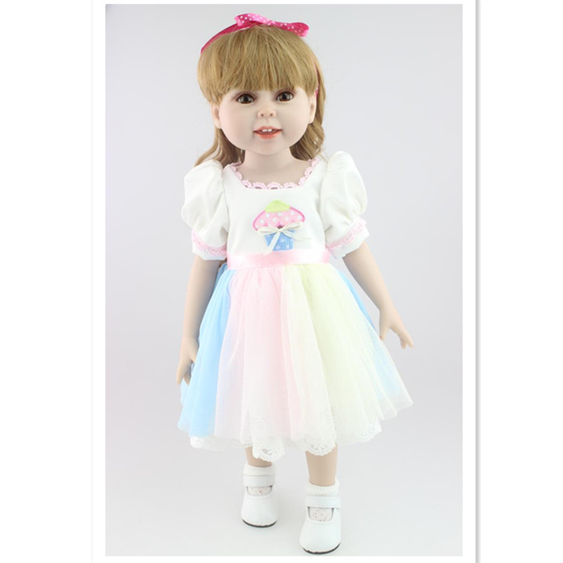 45 CM/18'' American Girl Dolls with Beautiful Dress,Lovely Reborn Baby Girls Doll Princess Doll Soft Toys for Children 18 high quanlity lovely american princess baby hot girl doll lifelike baby dolls for girls