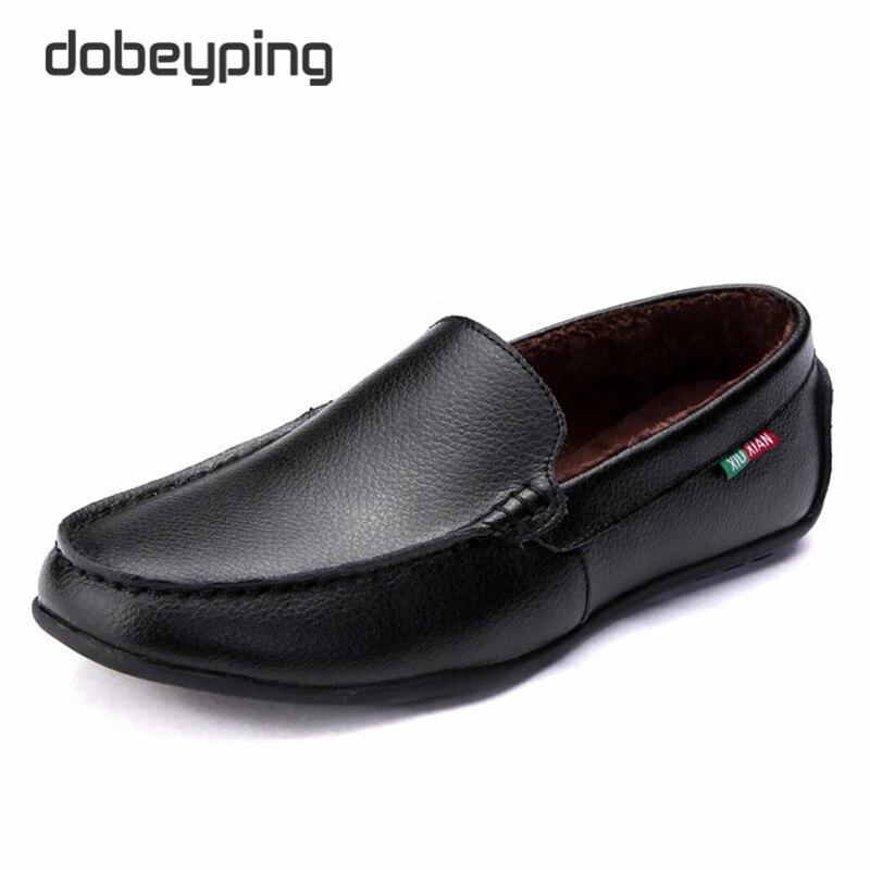 de Invierno Cálido Hombres Mocasines Slip On de Cuero Genuino Pisos Zapato de C