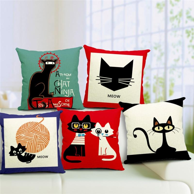 Декоративные подушки высокого качества с рисунком кота, черно-белые декоративные наволочки для дивана, наволочки для стула и автомобиля