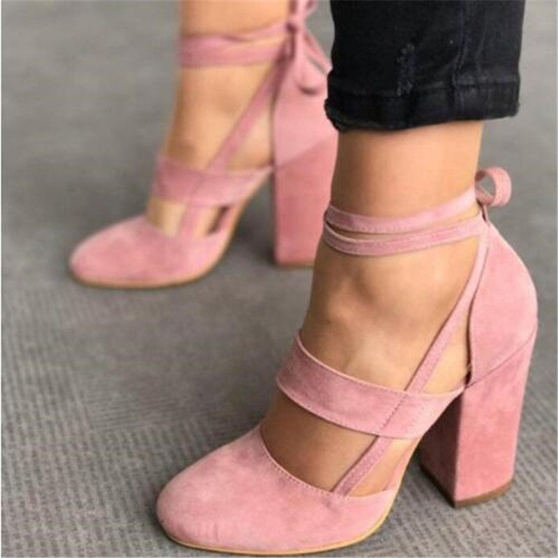 2019 New Women Shoes Fashion Gladiator Heels Shoes Woman Quality Lace-Up High Heels Hollow Out Women Heels Shoes