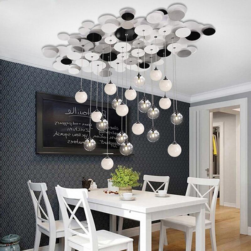 Zx European Fashion Led Pendant Lamp Restaurant Art Glass Chandelier Modern Living Room Lighting Free