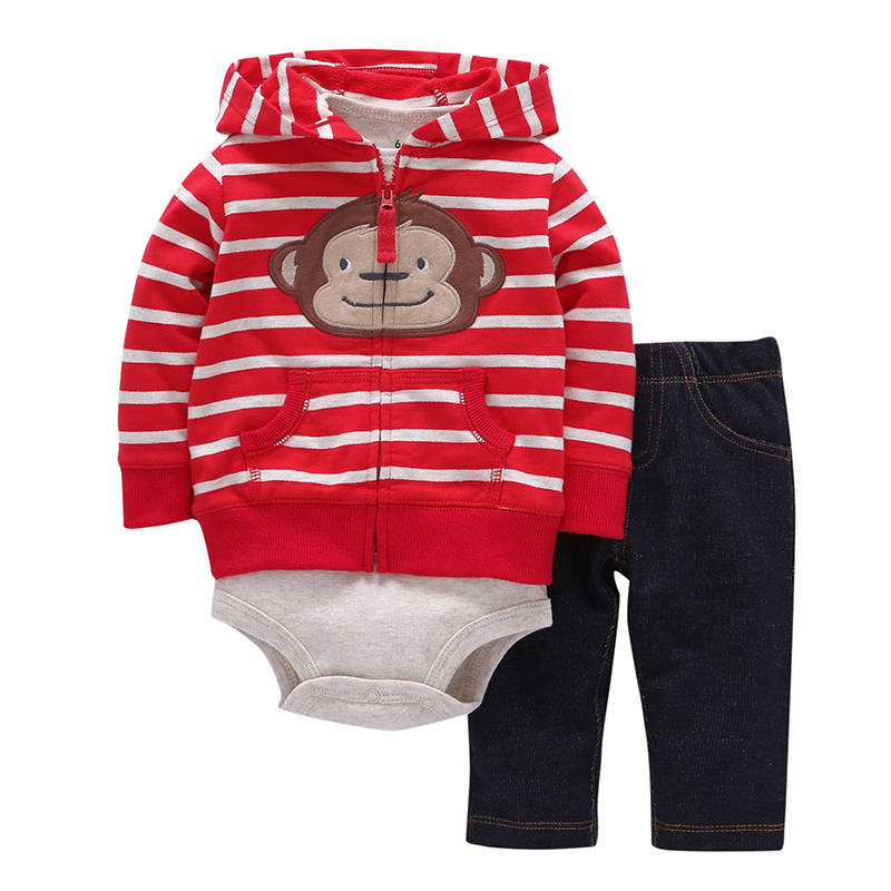 3pcs(long-sleeved Striped Hooded Pockets Zipper Coat+solid Red Fashion Style Romper+pants)baby Boy 2018 New Character Clothes kids ruffle tie neck striped romper