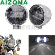 Moto Motos de rua Cromo Auxbeam LEVOU Holofotes Com Emark Luz Auxiliar de Condução luz de Nevoeiro Para Honda Suzuki Yamaha BMW