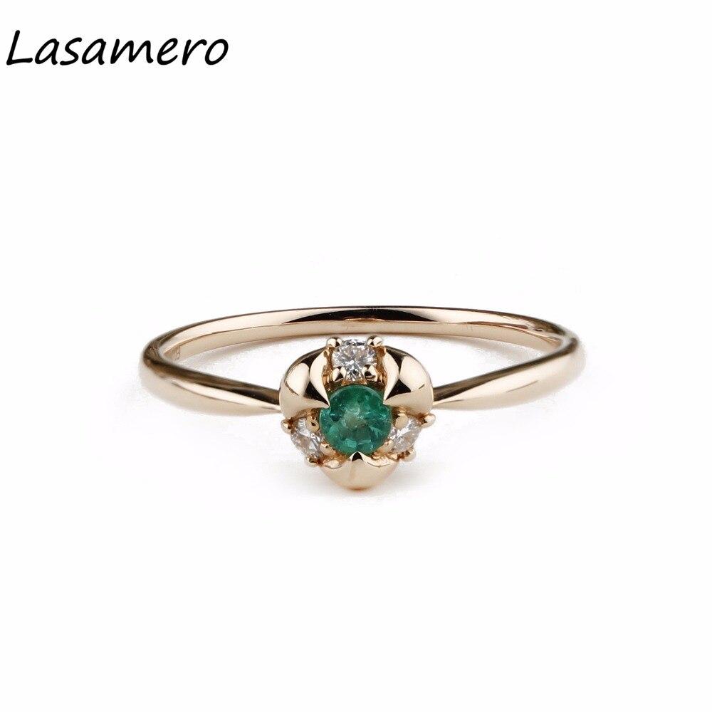 Lasamero круглой огранки 0.1ct натуральный изумруд драгоценный алмаз акценты партия 18 К розовое золото Винтаж Свадебные Обручение кольцо