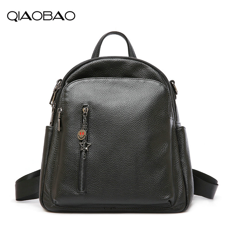QIAOBAO New Quality Genuine Leather Backpack Women Bags Preppy Style Backpack Girls School Bags Zipper Zipper Cow Leather Bag new designer women backpack for teens girls preppy style school bag genuine leather backpack ladies high quality black rucksack