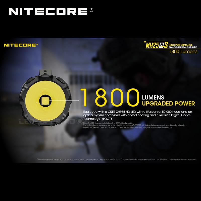 Image 3 - Wielu zadań hybrydowe serii Nitecore MH25GTS XHP35 HD LED o wysokiej wydajności podwójnego paliwa 1800 lumenów taktyczna latarka z akumulatoremLatarki   -