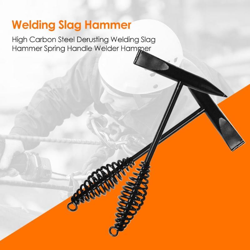 High Carbon Steel Derusting Welding Slag Hammer Spring Handle Welder Hammer Anti-loss Hook High-quality Welding Tool Accessory