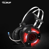 ALWUP A6 USB Headphone For Computer PC Games With Splitter Wired Led HD Bass Gaming Headset