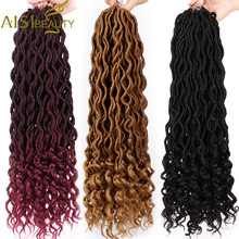 Crochet Goddess Locs Hair Extensions Faux Locs Curly Crochet Braids Ombre Kanekalon Braiding Hair Bohemian locks AISI BEAUTY(China)