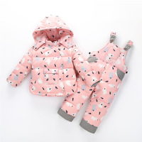 Baby Winter Outwear Coat Snow Wear 2pcs Sets Cartoon Down Jacket+Jumpsuit Thick Baby Snowsuit Toddler Boys Girls Outfit Z125