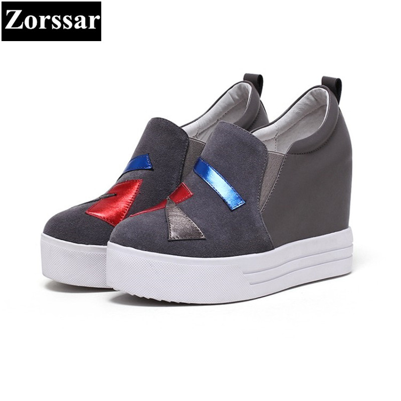 {Zorssar} 2017 NEW arrival Suede Womens platform Shoes Wedges High heels Pumps Women height increasing shoes female casual shoes 2016 new women shoes spring womens platform genuine leather shoes pumps wedges female heels shoes sapatos femininos xj 056