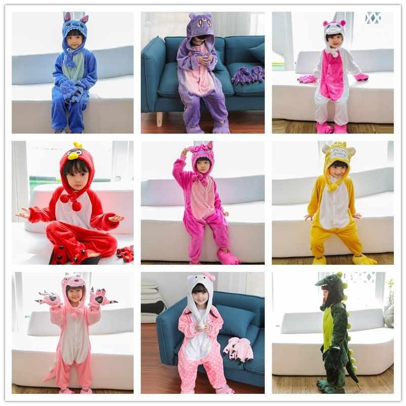 Новые фланелевые детские пижамы кигуруми Детские Пижама для животных кошка  Пикачу панда зимняя одежда для сна f6c489e1d6ebf