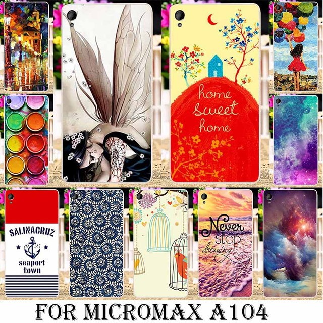 AKABEILA Soft TPU Silicone Painted Cases For Micromax A104 Canvas Fire 2 Fire2 4.5 INCH cases hood Phone bag Covers Gel shell