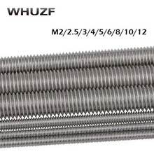 Threaded rod free shipping M2/2.5/3/4/5/6/8/10/12x250mm 304 Stainless Steel Fully threaded Fasteners Silver Tone