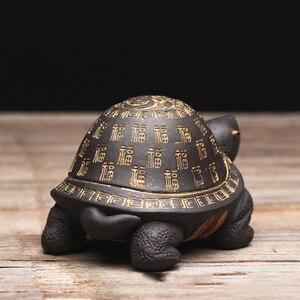 Image 4 - Criativo roxo argila chá animal de estimação tartaruga yixing zisha bule tampa titular para teatray teaboard tearoom decoração artesanato