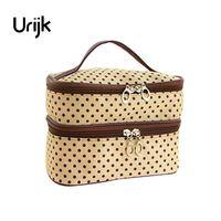 Urijk Double Makeup   storage   bags Women Dot print Case Travel Cosmetic Bags Hand Bag Handbag   Tool     Storage   Toiletry