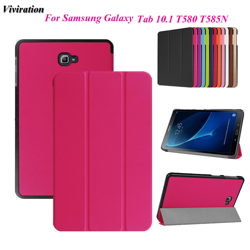 Viviration Magnetic Stand PU Leather Tablet PC Case Cover For Samsung Galaxy Tab A A6 10.1 2016 T585 T580 SM-T585 T580N Case for samsung galaxy tab a a6 10 1 2016 t585 t580 t580n case girl bling butterfly pu leather book stand protective tablet cover