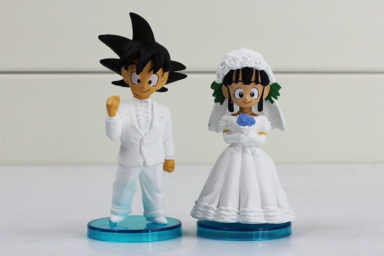 2Pcs 8cm - Dragon Ball Goku ChiChi Wedding