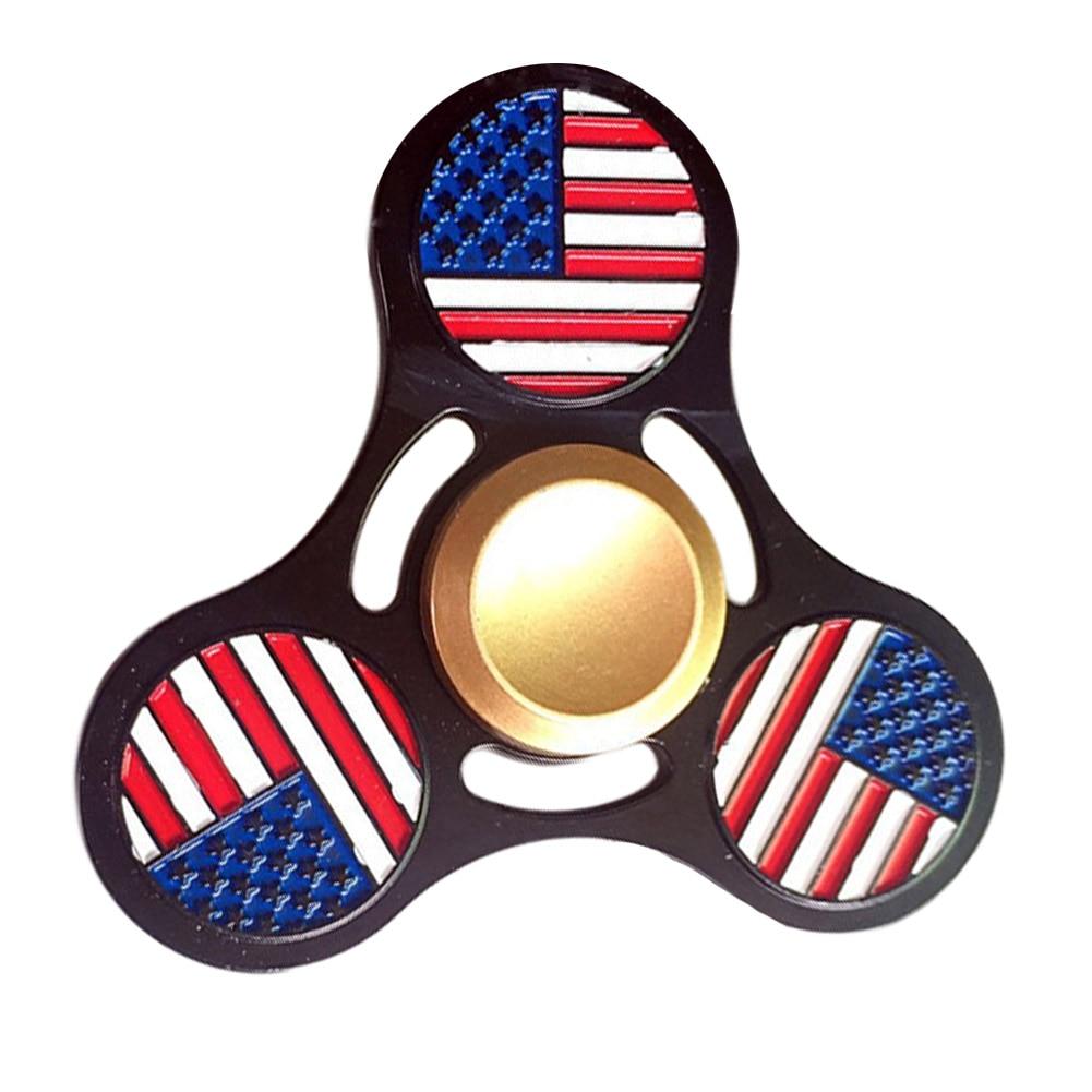 2017 Fashion American flag black glod triangle Handspinner triangle Fingertip gyroscope spinner fidget gyro metal Toys