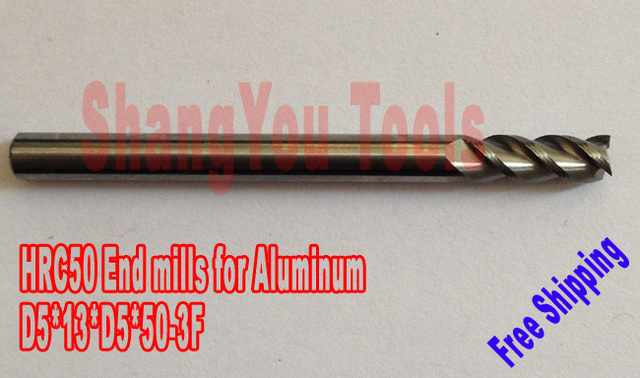 -5 шт. 5 мм hrc50 D5 * 13 * D5 * 50 3 фрезерные станки для Алюминий Спираль Бит фрезерные инструменты карбида Фрезы с ЧПУ
