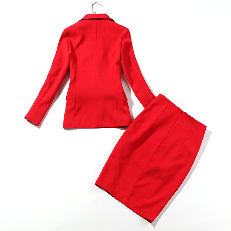 Suit Suit Female Red High Waist Bag Hip Skirt Temperament Slim Small Suit Jacket Two-Piece 2019 Summer New Women's Clothing