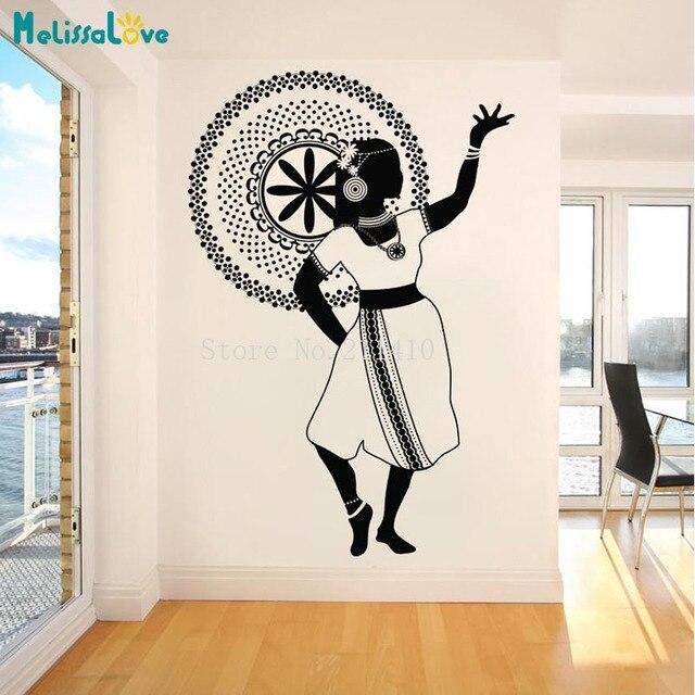 Vente Vinyle Sticker Mural Danse Fille Indienne Stickers