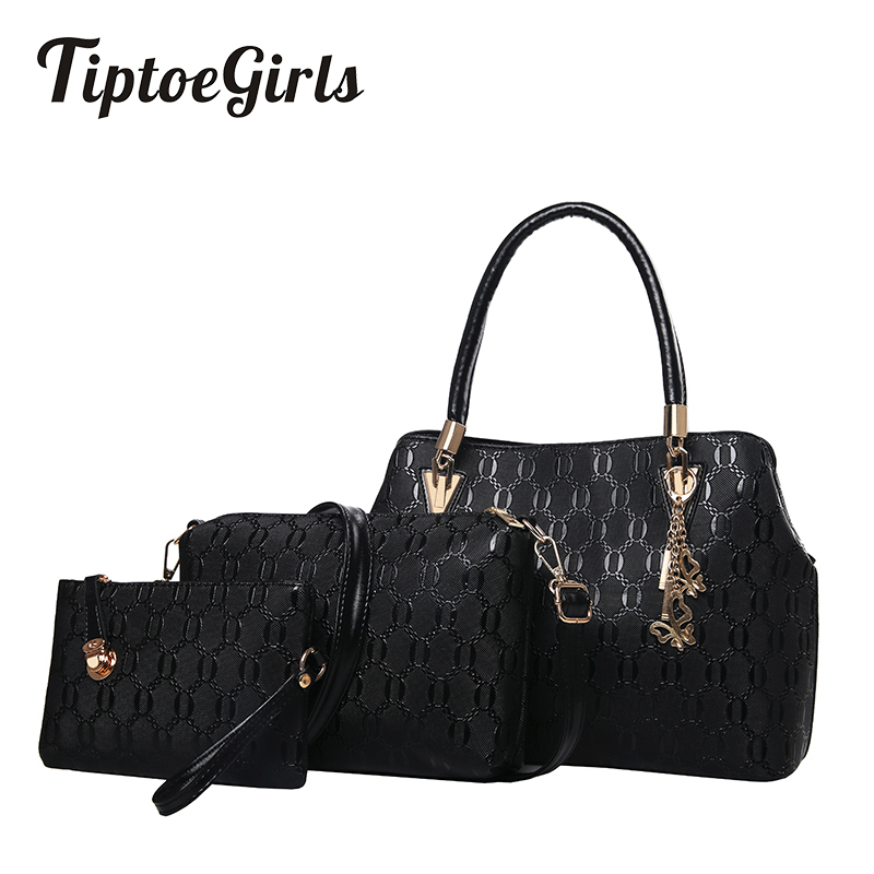Europe and The United States New Fashion Trend Three-Piece Bag Shoulder Messenger Bag Simple mother and Child Bag hot fashion europe and the united states fashion oil wax kraft handbag vertical section zipper multi color ladies shoulder messe