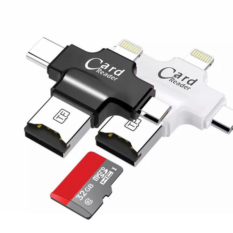 Support FAT32 ExFAT MicroSD MicroSDHC MicroSDXC Reader For IPhone PC Mac USB MicroUSB Lightning Type C 4 In 1 Card Reader
