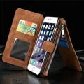 Caseme multi funcional couro genuíno retro vintage case para iphone 6 6 s 7 plus com cartão bolsa fique wallet capa para iphone7
