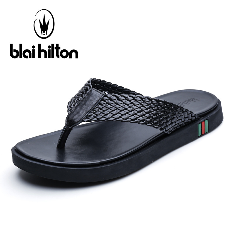 Blai Hilton 2018 New Summer Fashion Genuine Leather Cow Outdoor Casual Slippers Men Shoes Flip Flops Beach Slippers new chinese ethnic style high heels string bead wedges slippers genuine cow leather flip flops woman summer casual shoes 34 39