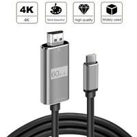 1.8M Comprimento USB 3.1-Tipo C para HDMI Cabo HD 4K 60Hz USB C Cabo HDMI cabo adaptador para Macbook Tablet PC Telefone para iPhone Huawei
