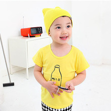 Infant Toddler Kids Baby Boy Cotton Tops Short Sleeve T-Shirts Pullover 2-7Y H3 A