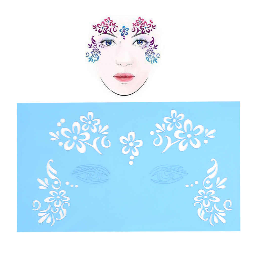 Brand new reusable facial paint stencils unique 7styles set facial paint stencil in body paint