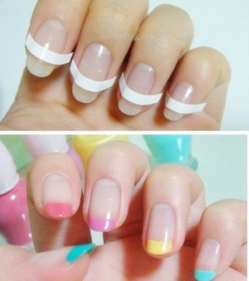 1 lot=10 packs Chic DIY 3 Styles French Manicure Nail Art Tips Tape ...