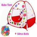 50 pcs Bolas + Ao Ar Livre/Interior Do Bebê Carrinhos Para Crianças Dobráveis das Crianças Jogo de Bilhar Bola Atividade & Engrenagem brinquedo Cesta de Esgrima Corralito